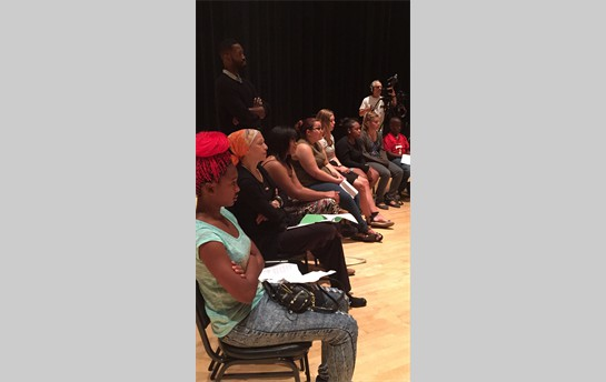 Piano Slam Finalists in a workshop with McArthur Genius Award winner, playwright Tarell Alvin McCraney