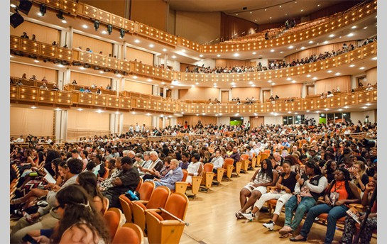 The audience in the John S. and James L. Knight Hall