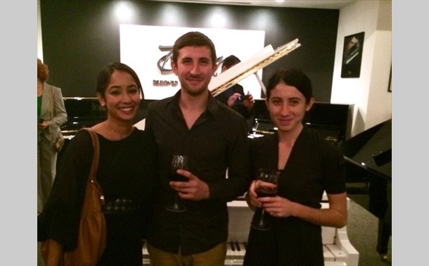 Steinway Salon Coral Gables December 2013 with members of the band Hundred Waters